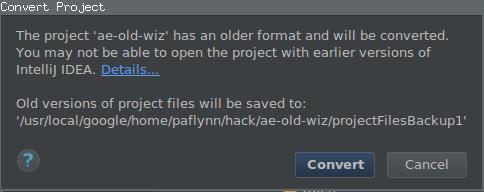 プロジェクトが古い形式であることを知らせる通知と、それを変換するプロンプトのスクリーンショット