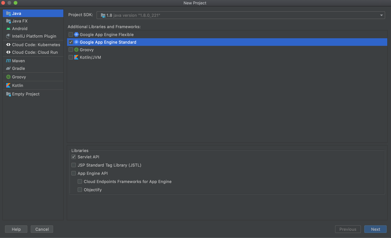 추가 라이브러리 및 프레임워크에서 'Google App Engine Standard(Google App Engine 표준)'가 선택된 새 자바 프로젝트