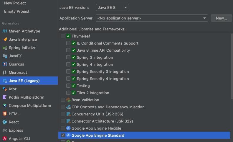 Novo projeto Java com o ambiente padrão do Google App Engine selecionado em bibliotecas e estruturas adicionais.