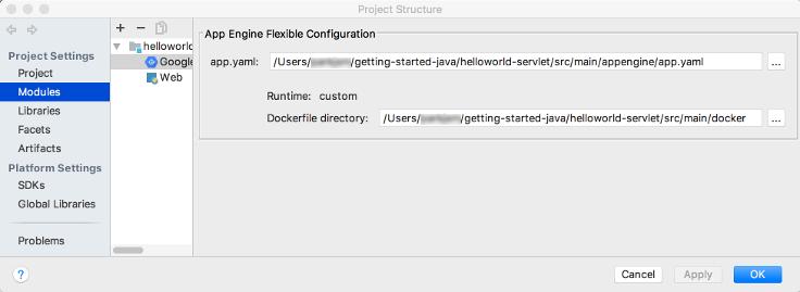 Cuadro de diálogo en el que se muestra la sección de configuración flexible de AppEngine de la pantalla de creación de la configuración de implementación Un campo en el que se muestra la ruta al archivo app.yaml Botón de edición para seleccionar otro archivo Una etiqueta que muestra el entorno de ejecución como personalizado Una etiqueta que muestra la ruta del archivo Docker Un campo Nombre del artefacto por etapas que muestra la ruta al archivo Docker