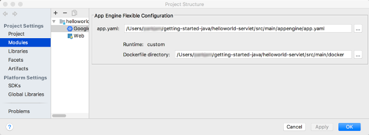 Dialog showing the app engine flexible configuration section of the create deployment configurations screen. A field shows the path to the app.yaml file. There is an edit button to select a different file. A label shows the runtime as custom. A label shows the path of the Docker file. A Staged artifact name field shows the path to the Docker file.