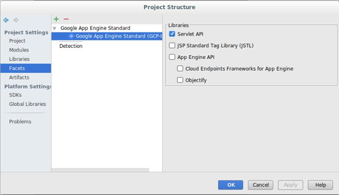 Cuadro de diálogo en el que se muestra un panel de navegación izquierdo con la configuración del proyecto (proyecto, módulo, bibliotecas, facetas, artefactos). También se muestra la configuración de la plataforma. La opción Facetas está seleccionada, y en la columna del centro se muestran las facetas asociadas al proyecto. En la columna de la derecha, se muestran las bibliotecas disponibles para el proyecto y se indica cuáles se seleccionaron.