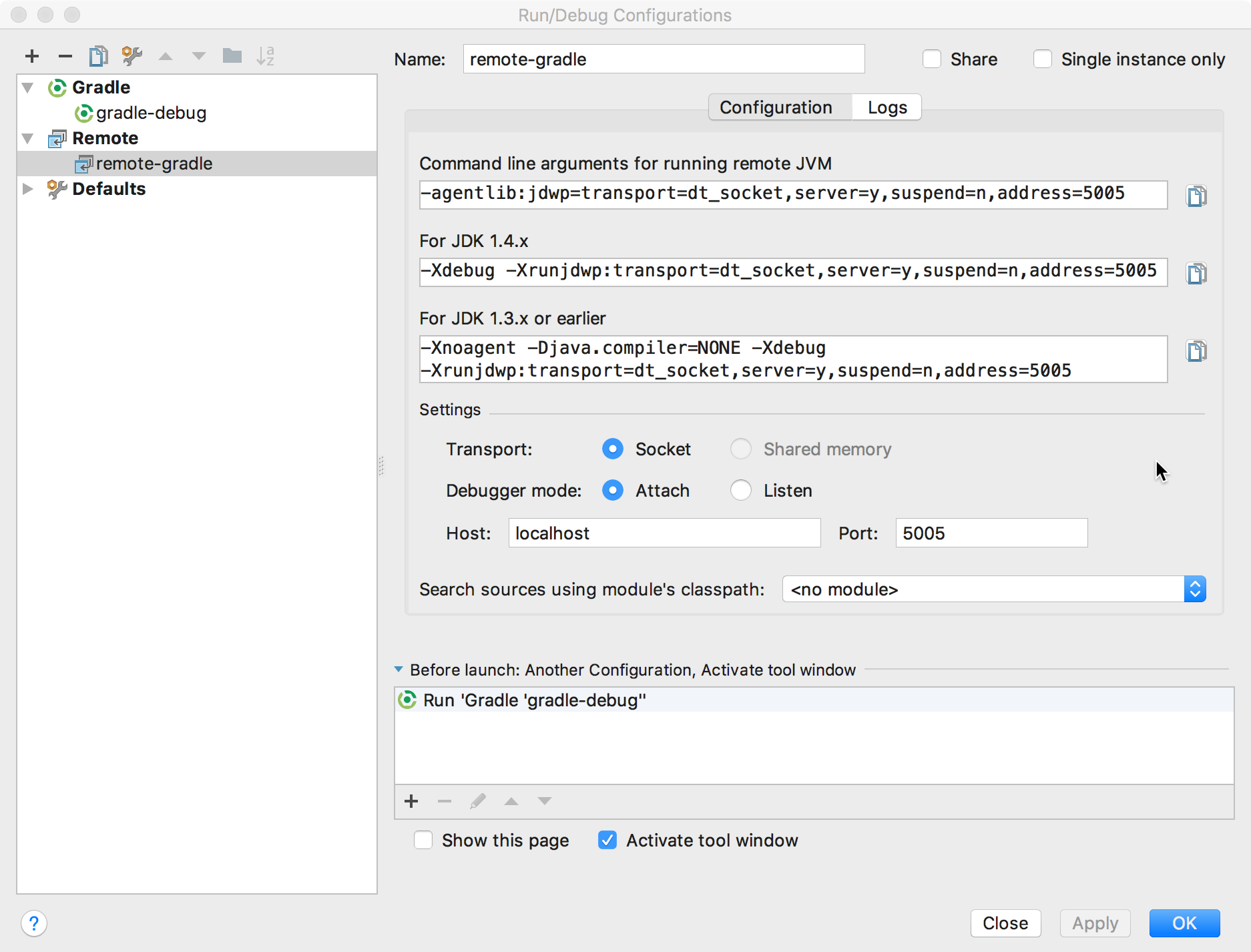 """Capture d'écran montrant la boîte de dialogue """"Debug Configurations"""" (Configurations de débogage)."""