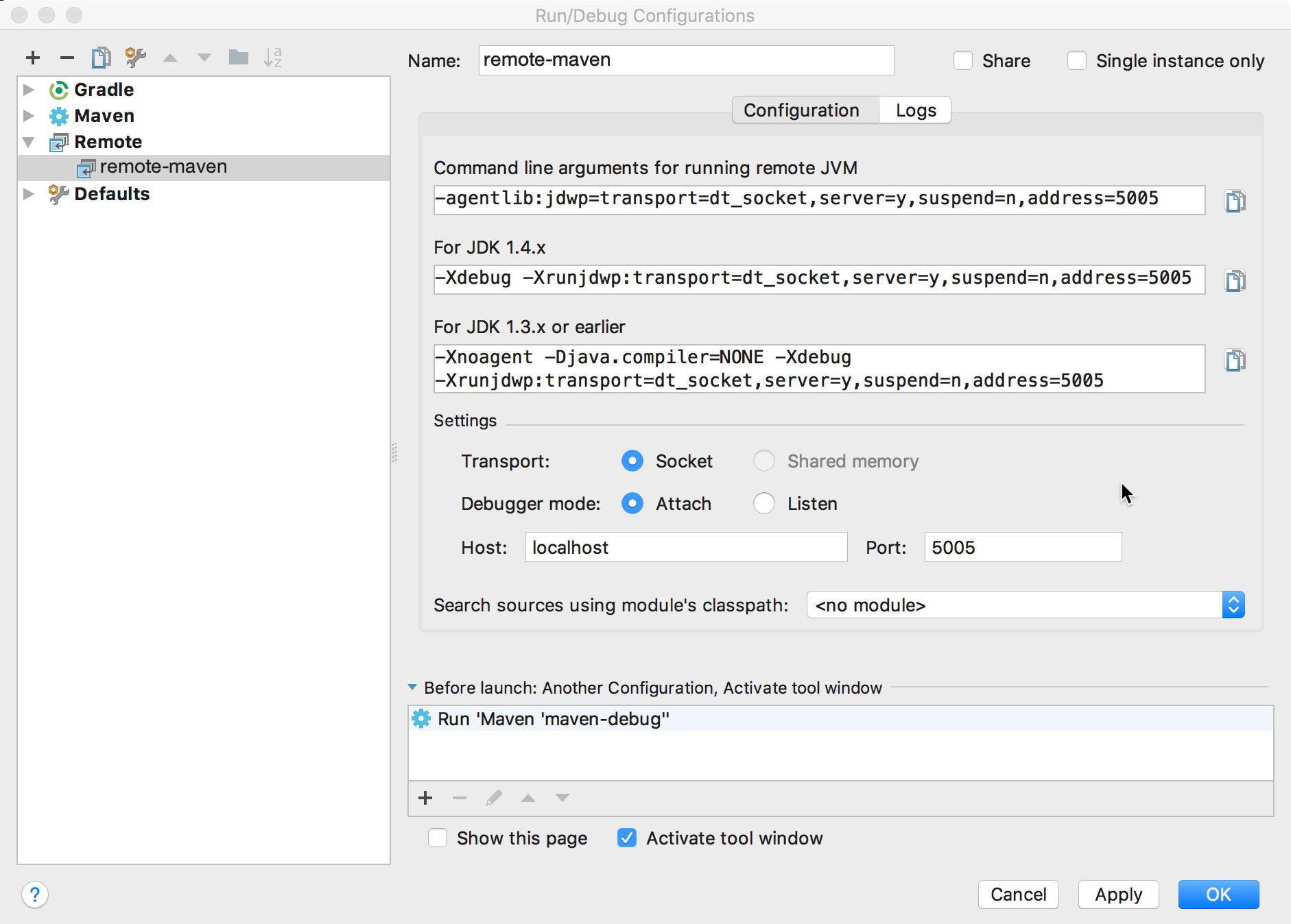 """Capture d'écran montrant la boîte de dialogue """"Run/Debug Configurations"""" (Configurations d'exécution/de débogage)."""