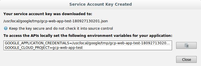 Captura de pantalla que muestra la confirmación de que se creó la cuenta de servicio y la ruta para la clave.