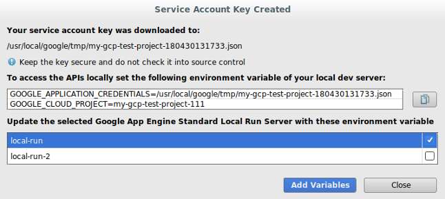 サービス アカウントが作成されたことの確認、およびキーのパスを示すスクリーンショット。