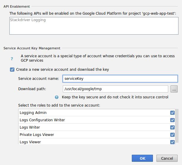 Captura de tela mostrando a caixa de diálogo de confirmação para adicionar papéis a uma nova conta de serviço e inserir um caminho para o download da chave.A caixa de diálogo também exibe as APIs que serão adicionadas ao projeto.