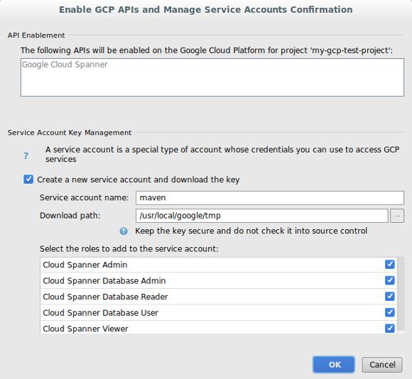 Capture d'écran illustrant la boîte de dialogue de confirmation permettant d'ajouter des rôles à un nouveau compte de service et de saisir le chemin d'accès au téléchargement de la clé. La boîte de dialogue affiche également les API qui seront ajoutées au projet.