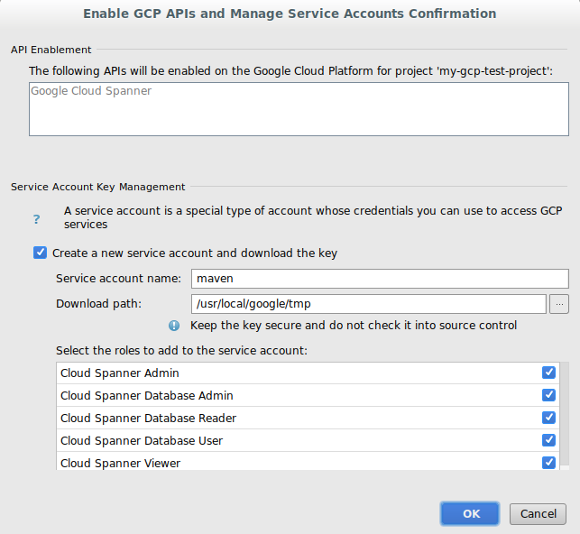 Screenshot showing the confirmation dialog for adding roles to a          new service account and for entering a path to download the key. The          dialog also displays the APIs that will be added to the project.