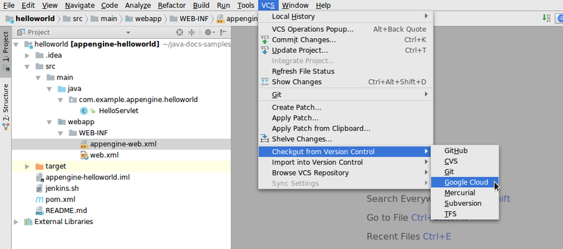 Using Cloud Source Repositories | Cloud Code for IntelliJ