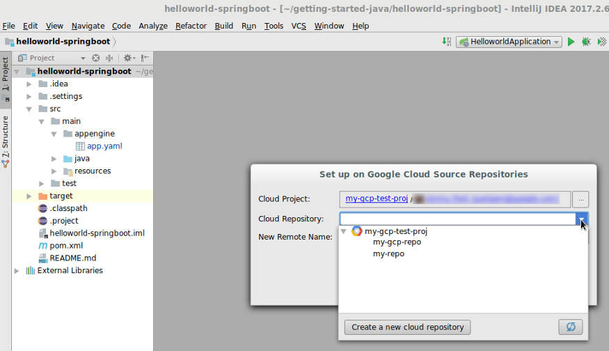 Screenshot showing the fields to complete to upload code to Cloud Source Repositories.