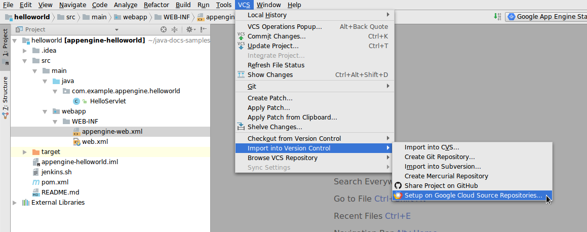 Screenshot showing the navigation to the Setup on Cloud Source Repositories menu option.
