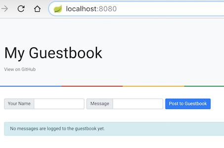 localhost : 8080 でのゲストブック アプリの実行