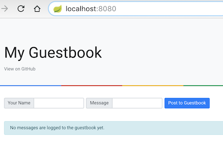Running Guestbook app on localhost:8080