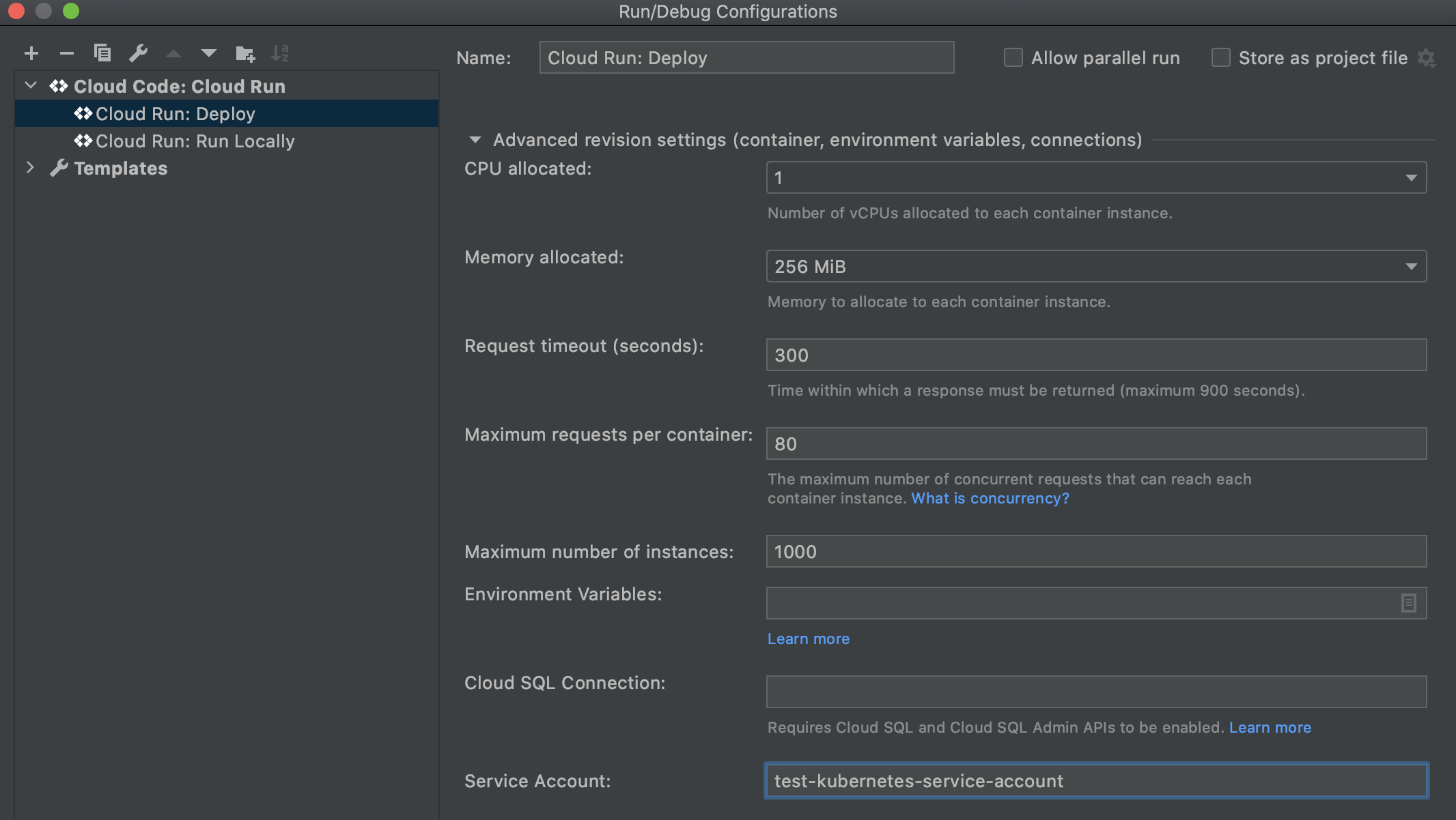 Advanced revision settings section expanded in Cloud Run: Deploy and Service Account field filled in with Kubernetes service account name