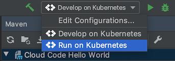 Kubernetes deployment run configurations