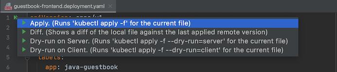 kubectl アクション リストでハイライト表示されている Apply オプション