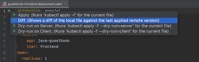 Se destaca la opción Diff en la lista de acciones kubectl