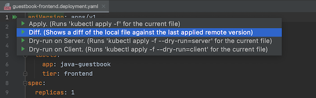 Diff option highlighted in the kubectl action list