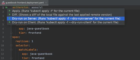 Se destaca la opción de ejecución de prueba en el servidor en la lista de acciones de kubectl
