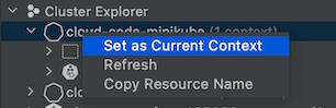 Configura un clúster como el contexto actual con KubernetesExplorer