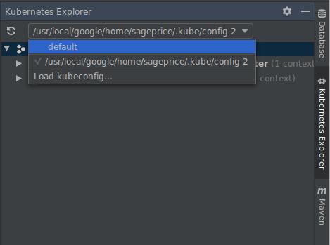Expande el menú desplegable de kubeconfig en el navegador de recursos de Kubernetes para mostrar kubeconfigs disponibles. Proporciona las opciones para seleccionar un kubeconfig o agregar un kubeconfig nuevo.