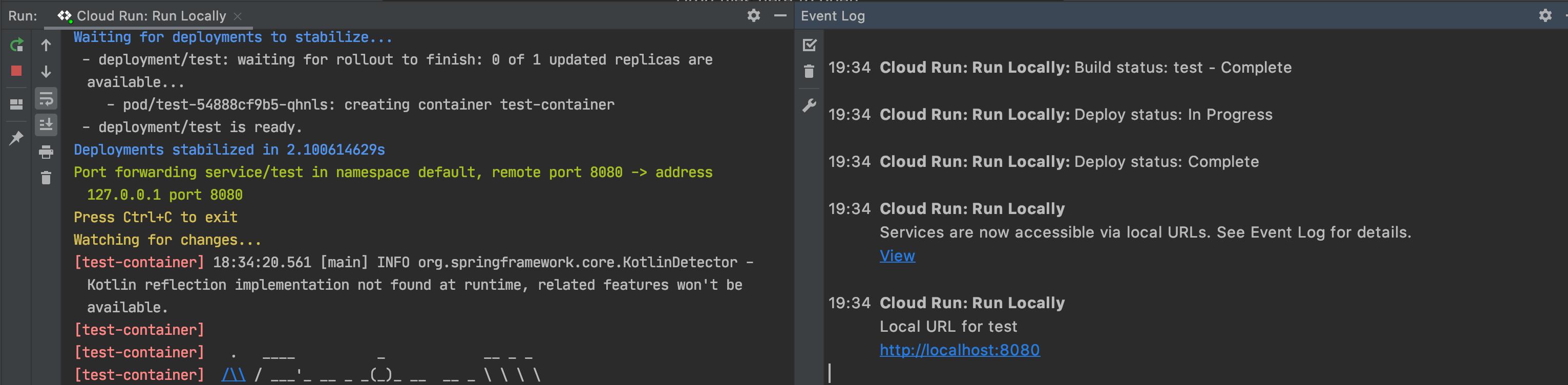 Log de eventos com notificação e URL de implantação de sucesso para visualizar o aplicativo