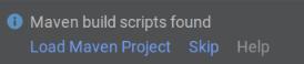 Notificação de scripts de criação do Maven encontrados - escolha Carregar projeto Maven, Pular ou Ajuda