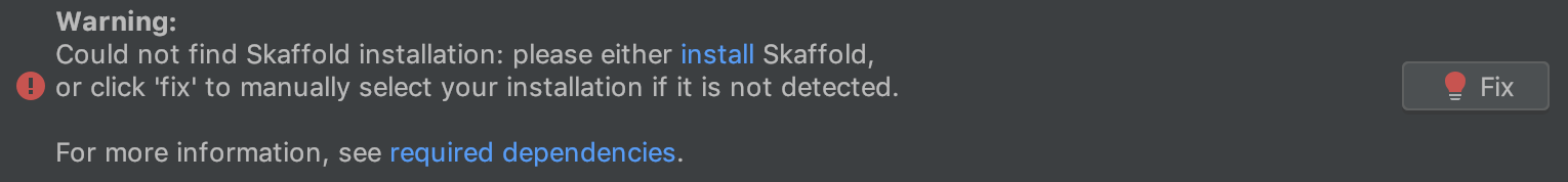 Could not find Skaffold installation error