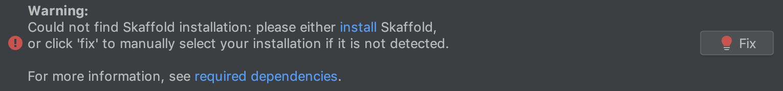 Não foi possível encontrar o erro de instalação do Skaffold