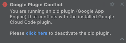 Screenshot showing notification that the plugin conflicts.  Click the 'click here' to disable the plugin.