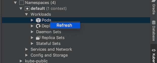 Actualiser un pod à l'aide du menu d'actualisation accessible via un clic droit