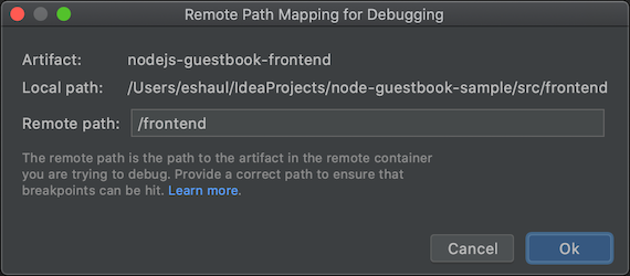 Remote path mapping dialog for each artifact specifying remote path being used