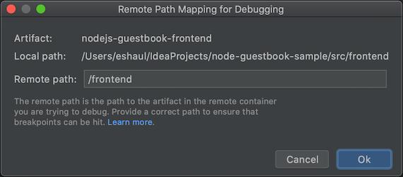 Diálogo de mapeo de la ruta de acceso remoto para cada artefacto que especifica la ruta remota que se usará