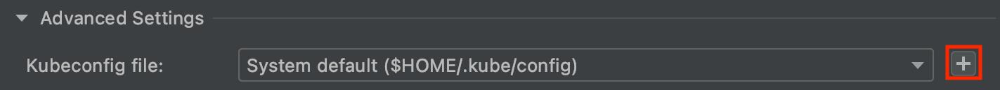 Edita la configuración de kubeconfig en Run Configurations (Configuración de ejecución). Proporciona un menú desplegable a fin de seleccionar un kubeconfig que ya se agregó y un botón para agregar un kubeconfig nuevo.