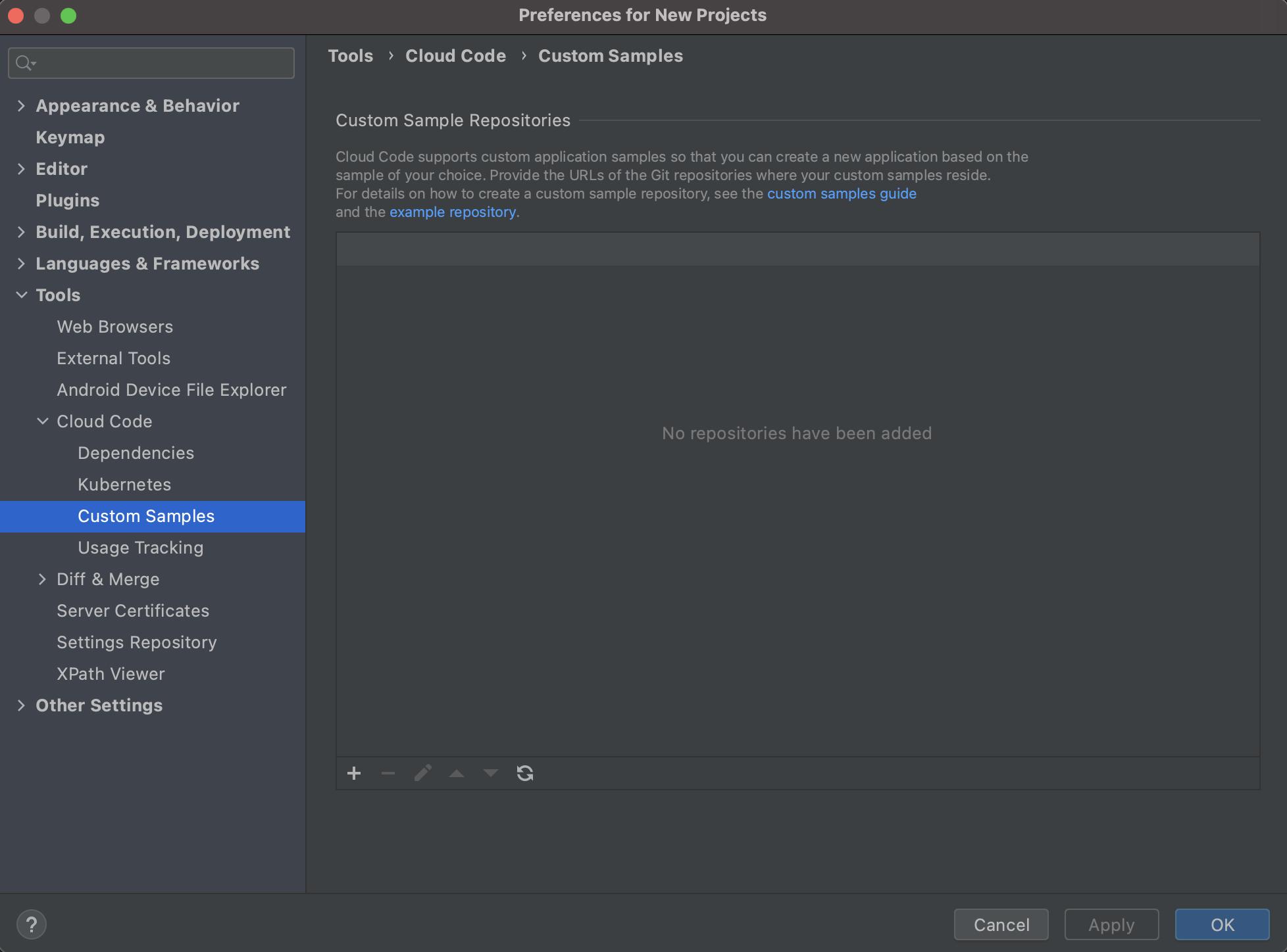 列、リポジトリ URL、ブランチを含むテーブルを掲載したカスタム アプリケーションのサンプル リポジトリ ページ