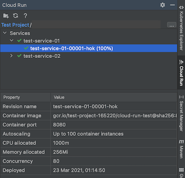 Cloud Run explorer open with a service selected and its properties displayed below