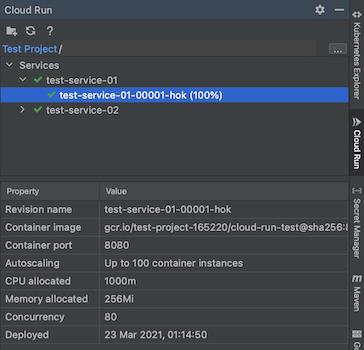 Cloud Run Explorer 打开,其中显示已选择的服务及其属性(显示在下方)