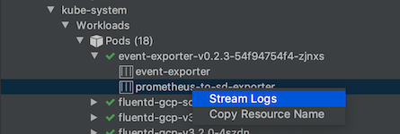 Streaming logs from a container using its right-click menu to output logs into the Kubernetes Explorer Console