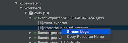 Como fazer streaming de registros de um contêiner usando o menu do botão direito do mouse para gerar registros no Console do Kubernetes Explorer