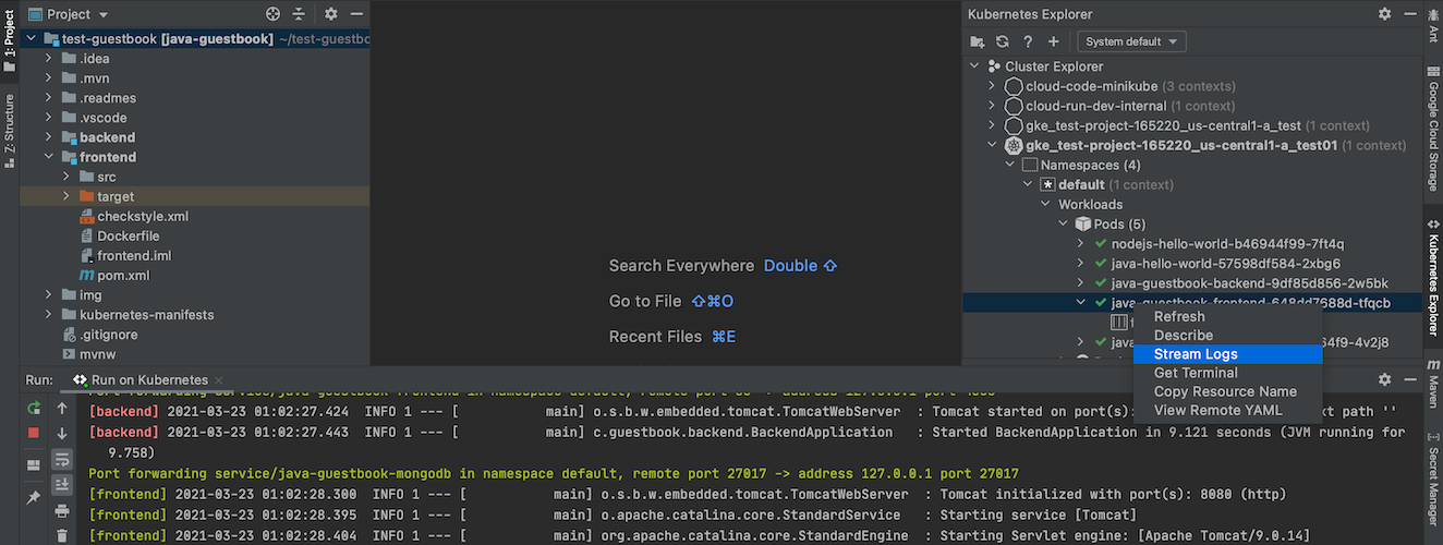 Streaming logs from a pod using its right-click menu to output logs into the Kubernetes Explorer Console