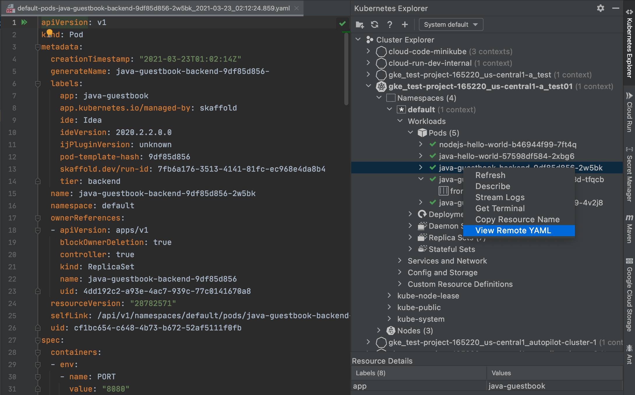 """Visualização do YAML de um pod ao clicar com o botão direito do mouse no rótulo dele no Kubernetes Explorer e selecionando """"Visualizar YAML remoto"""""""