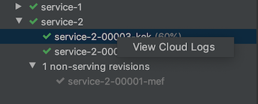 Right-click on a revision to view its logs
