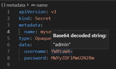 Decodifique o secret passando o cursor do mouse sobre ele com o Cloud Code