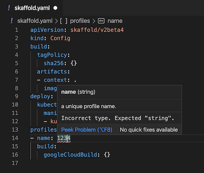 """Value of name field red-underlined to highlight an invalid value of '1234'; hover text states: """"Incorrect type. Expected string."""""""