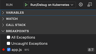 Breakpoints section in the left hand panel of Debug View that allows adding, removing, and disabling breakpoints