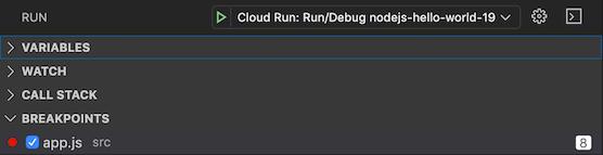 중단점을 추가, 삭제, 사용 중지할 수 있는 디버그 뷰 왼쪽 패널의 중단점 섹션