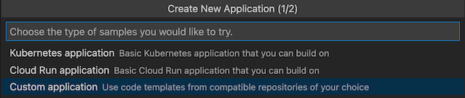 Custom application option available when prompted for type of sample you'd like to use