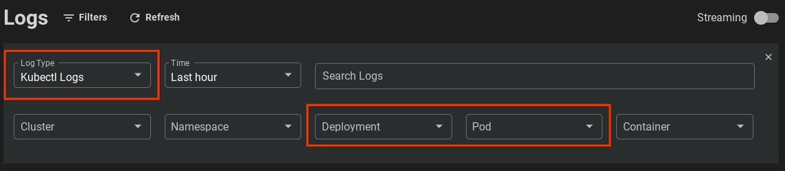 """通过将日志查看器搜索框中的 Deployment 字段设置为""""node-hello-world"""",查看非 Cloud Logging 集群的日志"""