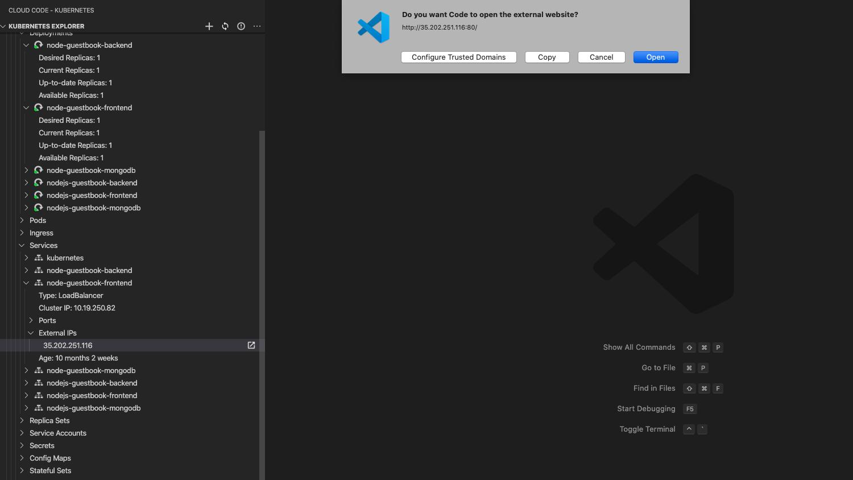 Abrir una direcciónIP externa en un navegador